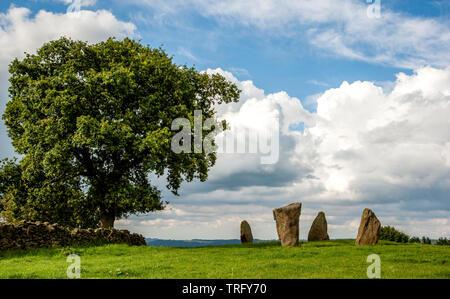 Neun Stein in der Nähe Steinkreis in der Nähe von Robin Hood's Stride in The Derbyshire Peak District DE - Stockfoto