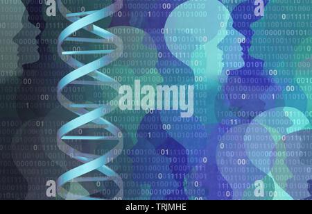 DNA-Binärcode genom Wissenschaft Konzept als Mikrobiologie oder Biochemie Computer Technologie mit 3D-Illustration Elemente. - Stockfoto