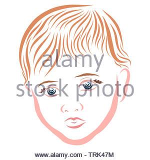 Kind mit einem nachdenklichen Blick, Kopf, bunte Muster - Stockfoto