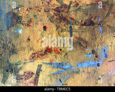 Kunst, Spritzer, Verschütten, Farbe, Tinte, Verwirrung, Studio, Palette, Abstrakte © clarissa Debenham/Alamy - Stockfoto