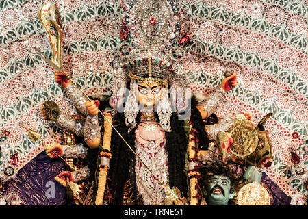 Durga Idol - Durga Puja Navrata, West Bengal, Indien - Stockfoto