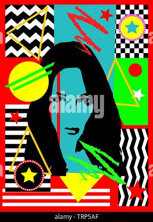 Avatar Mädchen, Silhouette, abstract Pop Art, farbigen Hintergrund