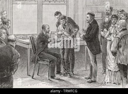 LOUIS PASTEUR (1822-1895) französische Biologe und Chemiker impfen ein Junge in seiner Chirurgie gegen Tollwut - Stockfoto