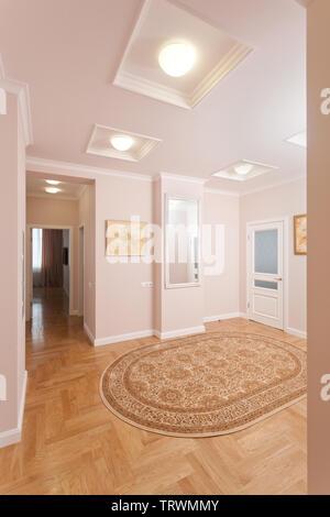 Epmty minimalistischen Interieur Hintergrund, der Halle der modernes Apartment mit offenen und geschlossenen Türen, Lichter auf, niemand, mit Kopie Raum, vertikal - Stockfoto