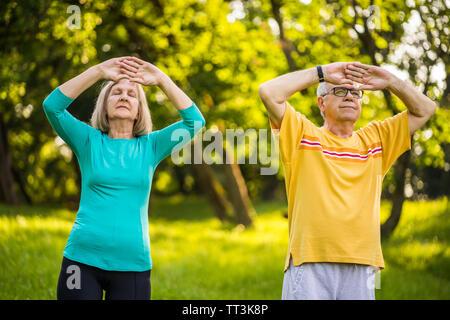 Senior Paar genießt die Tai Chi im Park. - Stockfoto