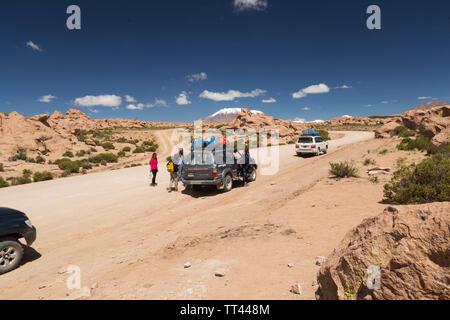 Jeepfahrt in Bolivien Wüste, Bolivien - Stockfoto