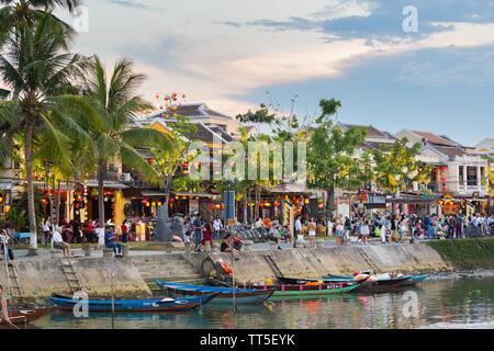 Old Town Waterfront, Hoi An, Provinz Quang Nam, Vietnam, Asien - Stockfoto