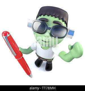 3D-Render eines lustigen Cartoon Frankenstein monster Charakter Schreiben mit einem Stift - Stockfoto