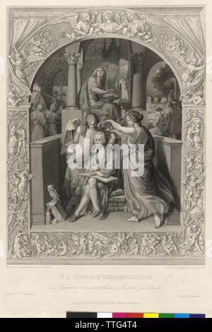 Wolfgang Amadeus Mozart Verherrlichung, Stahlstich von Edouard Schuler auf der Basis einer Zeichnung von Joseph Knight von Fuehrich, Artist's Urheberrecht nicht geklärt zu werden. - Stockfoto