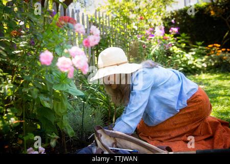 Lächelnde Frau Gartenarbeit durch Zaun im Hof - Stockfoto