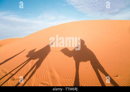Schatten der Freunde reiten Kamele auf Sand bei Merzouga Wüste gegen Sky - Stockfoto