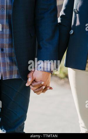 Zugeschnittenes Bild des Paares, das Hände beim Gehen in Park - Stockfoto