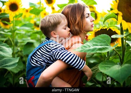 Frau im sonnenblumenfeld, ihr Sohn Holding auf ihrem Rücken.