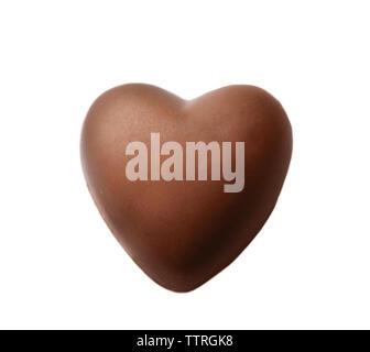 Schokoladenherz auf weißem Hintergrund - Stockfoto