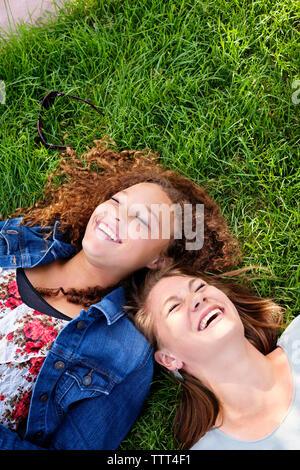Hohe Betrachtungswinkel von Freunden auf der Wiese liegend - Stockfoto