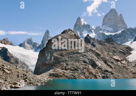 Mount Fitz Roy gesehen vom Laguna de los Tres in Patagonien, Argentinien - Stockfoto