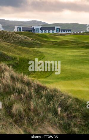 Anzeigen von machrie Golf Links Golfplatz und Hotel auf Islay. In der Inneren Hebriden, Schottland, Großbritannien - Stockfoto