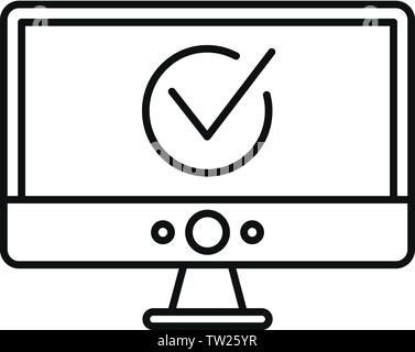 Computer Monitor online Abstimmung Symbol. Übersicht computer monitor online Abstimmung vektor Symbol für Web Design auf weißem Hintergrund - Stockfoto