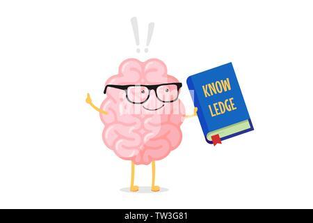 Cartoon smart Gehirn Charakter in Gläsern Holding blaues Buch mit Wissen Inschrift und Ausrufezeichen. Zentralen Nervensystems Orgel Bildung Spaß - Stockfoto