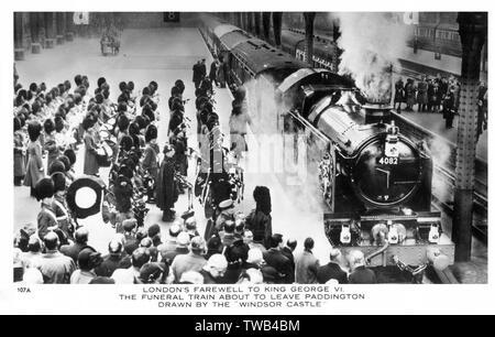 """London's Abschied von König George VI - Die Beerdigung Zug verlassen Paddington Station durch die """"Windsor Castle"""" - 15. Februar, 1952. Datum: 1952 - Stockfoto"""