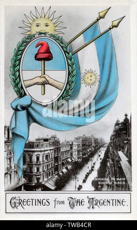 Die Avenida de Mayo, Buenos Aires, Argentinien - patriotische Karte. Datum: 1913 - Stockfoto