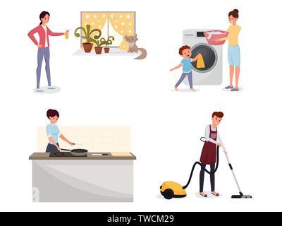Familie, Hausarbeit flachbild Illustrationen. Mann mit Staubsauger, Mutter und Sohn laden Waschmaschine, Frau Abendessen kochen cliparts Pack. Hausarbeit, Zeichen mit Haushaltsgeräten - Stockfoto