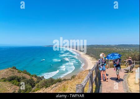 Blick über Byron Bay von Cape Byron, Conservation Park, New South Wales, Australien - Stockfoto