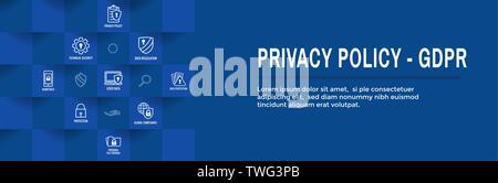 Datenschutz und bipr Icon Set & Web Header Banner - Stockfoto