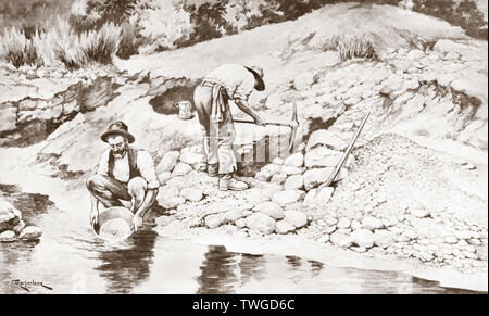 Goldwaschen in Australien. Nach einer Arbeit von J. Macfarlane. Von einem zeitgenössischen print c 1935. - Stockfoto