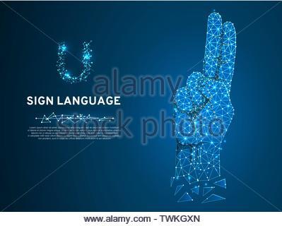 Gebärdensprache U schreiben, Hand mit zwei Finger nach oben zeigen. Polygonale Low-poly-Stil. Gehörlose Menschen stille Kommunikation Alphabet. Verbindung Drahtmodell. - Stockfoto