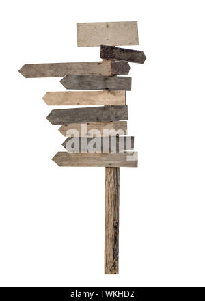 Holz- leer Wegweiser Pfeile auf weißem Hintergrund - Stockfoto