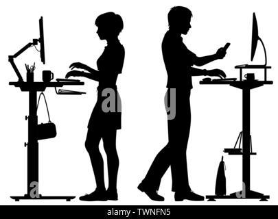 Editable vector Silhouetten von Mann und Frau an Ständigen Büro Schreibtische mit allen Elementen als separate Objekte arbeiten - Stockfoto