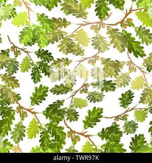 Eiche Ast mit Blätter und Eicheln nahtlose Muster Hintergrundbild - Stockfoto