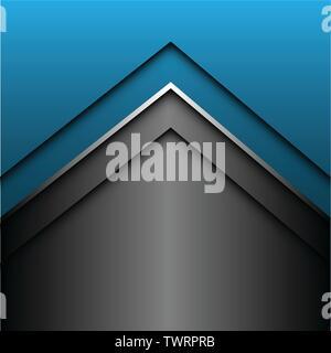 Abstrakt Blau Silber grauen Pfeil Design moderne futuristischen Hintergrund Vector Illustration. - Stockfoto