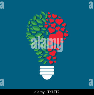 Grüne Blätter und Herzen in Glühlampenform, eco-Konzept, denken Symbol, Tag der Umwelt