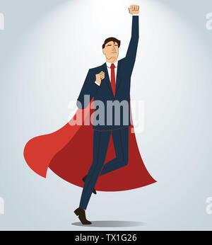 Erfolgreicher Geschäftsmann und rotem Umhang - Stockfoto