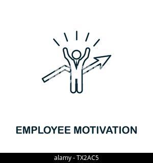Die Motivation der Mitarbeiter vektor Symbol in der gliederungsansicht Stil. Kreative Zeichen von menschlichen Ressourcen icons Collection. Dünne Linie Mitarbeitermotivation Symbol für c - Stockfoto