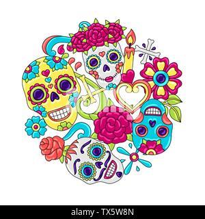Tag der Toten Einladungskarte. Zucker Schädel mit floralen Ornament. - Stockfoto