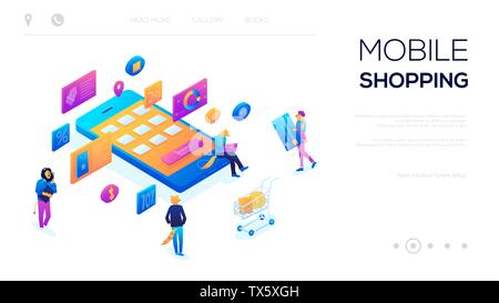 3d-Isometrische Charakter Online kaufen Auf blau violett unterlegt. Benutzer mit Tabletten und Warenkorb rund um e-commerce Marketing Konzept. Vektor Store online Internet. Abbildung mit Boxen - Stockfoto