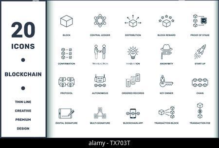 Blockchain eingestellt icons Collection. Enthält einfache Elemente wie Block, zentralen Hauptbuch, Verteilung, Block belohnen, Nachweis der Beteiligung, autonomen und Oder - Stockfoto