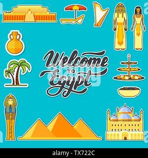 Land Ägypten Reisen Urlaub Guide von Waren, Orte und Funktionen. Satz von Architektur, Menschen, Kultur, Symbole Hintergrund Konzept. Infografiken template Design für web und mobile. - Stockfoto