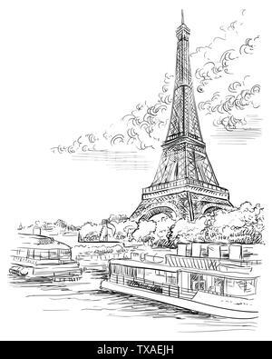 Vektor hand Zeichnung Abbildung: Eiffelturm (Paris, Frankreich). Wahrzeichen von Paris. Stadtbild mit dem Eiffelturm, mit Blick auf Seine River Embankment. Vect - Stockfoto