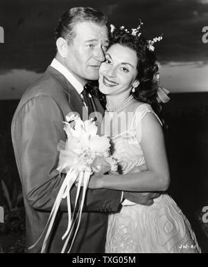 John Wayne mit seiner dritten Frau Pilar Palette Hochzeit Datum 31. mars 1956 - Stockfoto