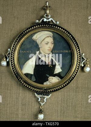 Miniaturporträt von Jane Kleine auf Pergament, in einem Anhänger mit drei barocken Perlen eingeschlossen, c 1540. Hans Holbein der Jüngere (c) 1497-1543 deutsche Künstler und Grafiker, Northern Renaissance Stil. - Stockfoto