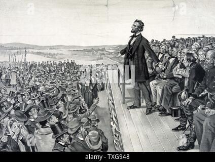 Abraham Lincoln seine berühmte Adresse am 19. November 1863 bei der Einweihung der Soldaten National Cemetery bei Gettysburg auf der Website des Amerikanischen Bürgerkrieg Schlacht mit der größten Zahl der Todesopfer Lithographie - Stockfoto