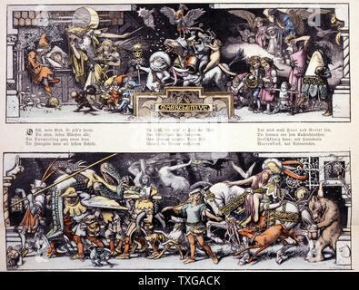 Märchenzug. Abbildung zeigt eine Prozession von Figuren aus Märchen, einschließlich der Gestiefelte Kater, die Bremer Stadtmusikanten, und Hänsel und Gretel. Von Hermann Vogel.