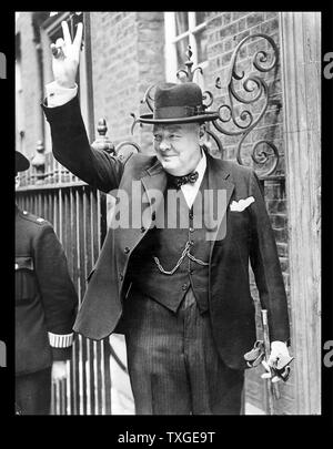 Fotografieren von Winston Churchill (1874-1965), britischer Politiker, Premierminister des Vereinigten Königreichs war. Datiert 1943 - Stockfoto