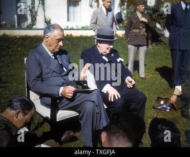 Zweiter Weltkrieg: Casablanca-Konferenz, Marokko. US-Präsident Franklin Roosevelt und der britische Premierminister Churchill. - Stockfoto