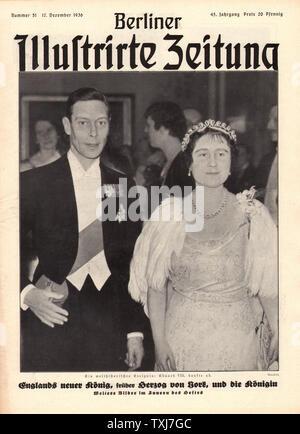 1936 Berliner Illustrirte Zeitung neue King George VI und Queen Elizabeth - Stockfoto