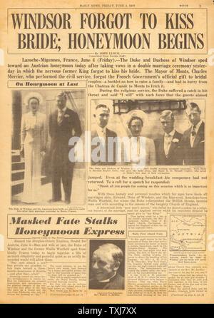 1937 Daily News (New York) Seite 3 Herzog von Windsor heiratet Wallis Simpson in Frankreich - Stockfoto